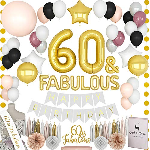 TRULY FABULOUS 60th Birthday Decorations + (60 SASH) + (FABULOUS Letter Balloons) + (Cake Topper) | Gold Black Burgundy Sixty Bday Party Supplies For Women | (71+ Items) -