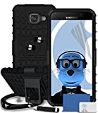 Samsung Galaxy A5 (2016) SM-A510F Black Shock Proof Rugged Hard Case with Viewing Stand - LCD Screen Protector - Retractable Mini Stylus Pen - 3.5mm ZIPPER Stereo Hands Free HeadPhones with Mic