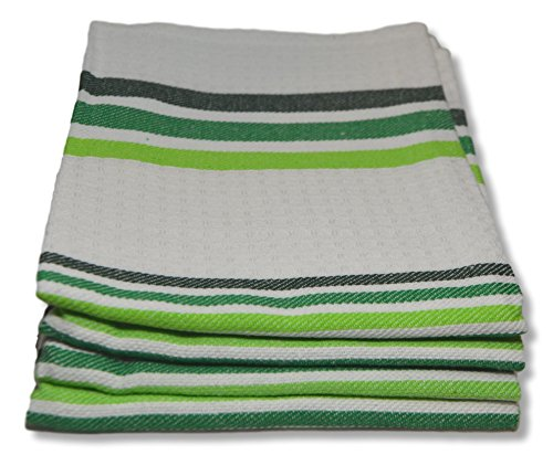 Fine Quality Waffle Weave Kitchen Towels Dish Cloth 4-Pack, 100% Cotton Tea Towels, Super Absorbent, 28 by 18.5 Inch - Vintage Modern Plaid Dish Towels - Green Stripe