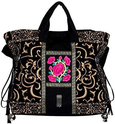 ハンドバッグエスニックスタイルのヴィンテージカジュアル刺繍の花のハンドバッグ、大容量のショルダーバッグクロスボディバッグ、44 * 38センチメートルキャンバス よくできた