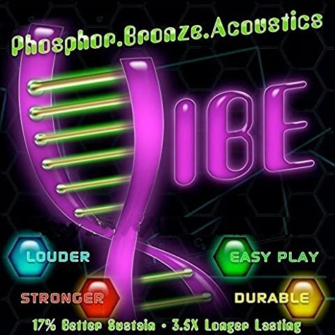 Vibe Strings For Acoustic Guitar, Phosphor Bronze, Vacuum Packaging For Freshness and Long-Life, Easy To Restring, 6 String Pack, LIGHT (Guitar Strings Diadario)