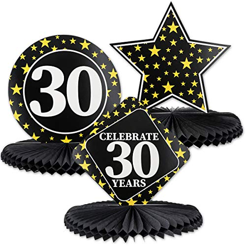 Table Birthday Party Centerpiece (Juvale 3-Pack 30th Birthday Honeycomb Table Centerpiece Party Decoration, 3 Star Designs)