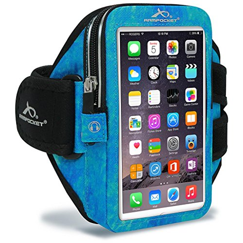 (Armpocket Ultra i-35 Sweat/Weather Proof Phone Armband, Arctic Blue, Medium Strap - Fits iPhone 8/7/6s/6, Galaxy S7/S6, S7/S6 Edge, Pixel 3/2, or Phones up to 6.0
