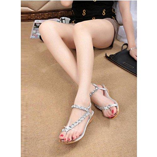 HARRYSTORE 2017 La plataforma de los planos del Rhinestone de las sandalias del verano de la mujer de la manera acuña los zapatos de los flips-flopes de los zapatos Plata