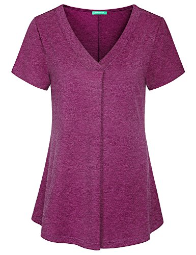 Kimmery Nice Blouses For Women, Maternity Shirts Curve Hem Pleats Tunics Loose Fitted Amazing Hand-Touching Extremly Soft Super Comfortable Aesthetic Dressy Tops For Pregnant Ladies Rose Red XX (Nice Clothes For Women)
