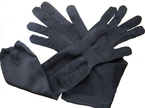 Buwico® Kevlar Sleeve Arm Protection Sleeve Level 5 Anti-Cut Anti-Shield 55cm (21.6 Inch) Long Sleeve Cut & Slash Resistant, Black (2)