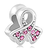 LovelyCharms 925 Sterling Silver Breast Cancer Awareness Pink Beads Fit Bracelets