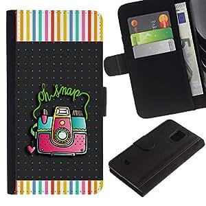 KingStore / Leather Etui en cuir / Samsung Galaxy S5 Mini, SM-G800 / Snap cuadro de la cámara de fotos del lunar;