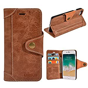 iPhone Wallet Case for iPhone 7/8 Genuine Leather Durable Lightweight Classic Design with SIM Holder Earphone Holder