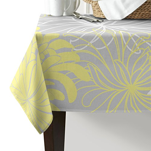 Home Decor Tablecloth Japanese Dahlia Floral Rectangular Table Cover for Dining Room Kitchen Outdoor Picnic, 60x120 Inch, White Gray Yellow ()