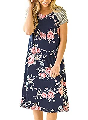 Gamery Women's Casual Short Sleeve Floral Loose Midi Shirt Dresses Knee Length
