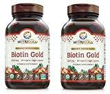 NutriGold Biotin Gold Supports Cellular Energy, Healthy Hair, Skin and Nails 2,500 Micrograms Per Serving (120 Plantcaps) Pack of 2