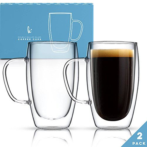 Coffee or Tea Glass Mugs Set of 2,15oz Double Wall Thermo Insulated Cups with Handle, Latte Cappuccino Espresso Glassware (Ceramic Wall Handle)