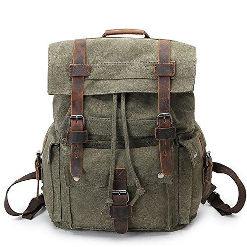Mochila de lona de algodón exterior vintage, Viajes Trekking Camping Mochila Pack, Gran mochila casual, Cera impermeable, impermeable y transpirable, resistente al desgaste College poliéster estilo ca Army green