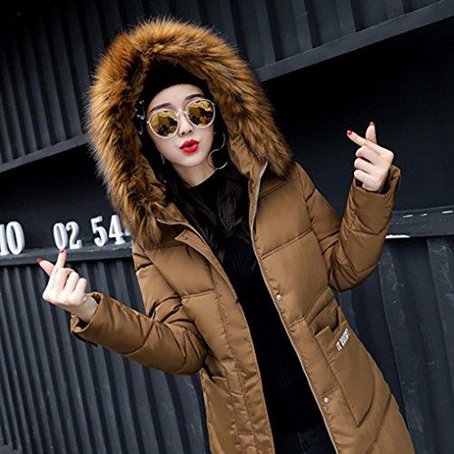 Down Casual de chaqueta Mujer más invierno Lammy Caqui largo Slim abrigo gruesa abrigo Outwear WINWINTOM 5x0qwITq