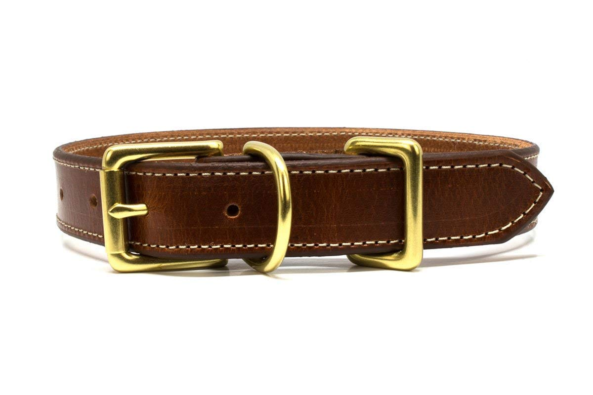 Cognac Leather Dog Collar with Gold Buckle