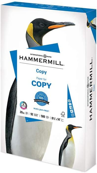 Hammermill 20lb Copy Paper, 8.5 x 14, 1 Ream, 500 Sheets, Made in USA, Sustainably Sourced From American Family Tree Farms, 92 Bright, Acid Free, Economical Multipurpose Printer Paper, 150800R