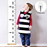 Growth Chart for Kids, Canvas Height Measurement Ruler | Home Decor for Children, Canvas Removable Height Growth Chart 79'' x 7.9''by The Hamptons Baby - Ruler Growth Chart for Kids [Boys and Girls]