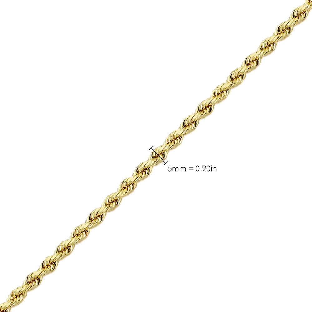 LoveBling 14K Yellow Gold 5mm Diamond Cut Rope Chain Necklace, Mens Womens with Lobster Lock (20) by LOVEBLING (Image #5)