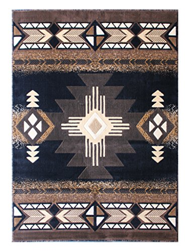 Concord Global Trading South West Native American Area Rug Design C318 Black (8 Feet X 10 Feet) from Concord Global Trading