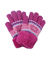 Kids Childrens Girls Winter Gloves With Cozy Sherpa Lined Pink Color