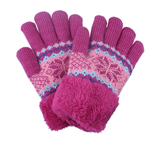 Pink Winter Knit Gloves Mittens For kids Girl With Fleece Lining Faux Fur Cuff