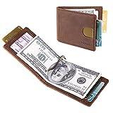 Front Pocket Wallets for Men Slim RFID Bifold Minimalist Money Clip Card Case -Made From Full Grain Leather Pabin(California Desert)
