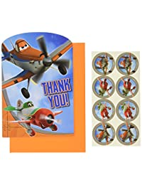 Disney Planes 2 Birthday Party Postcard Thank You Cards Kit, Pack Of 8, Multi , 4 1/4