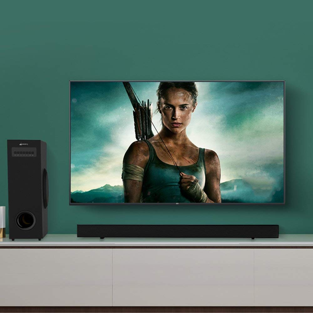 Sound Bars for TV, 60 Watts 43 inch 8 Speakers Sound Bar, Wireless and Wired Bluetooth Soundbar Home Theater Surround Speakers with Optical Cable and Remote Control【2019 Updated】