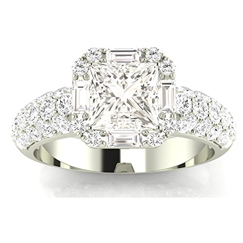 1.4 Carat t.w. Platinum Princess Designer Popular Halo Style Baguette and Pave Set Round Diamond Engagement Ring J/VS2 Clarity Center Stones. ()