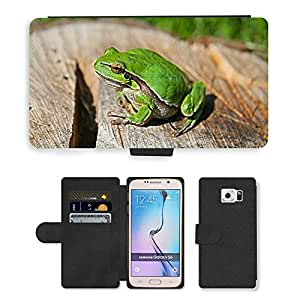Super Stella Cell Phone Card Slot PU Leather Wallet Case // M00149055 Green Frog Animal // Samsung Galaxy S6 (Not Fits S6 EDGE)