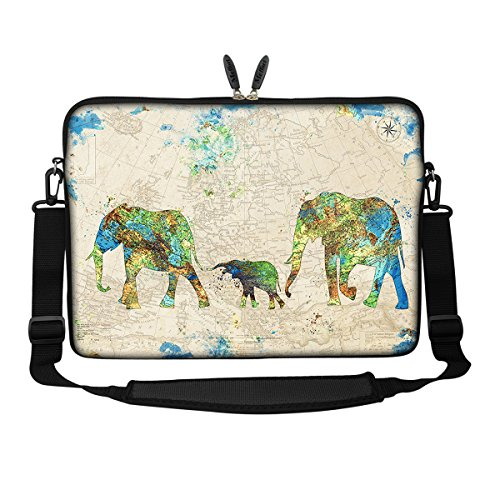 (Meffort Inc 17 17.3 inch Neoprene Laptop Sleeve Bag Carrying Case with Hidden Handle and Adjustable Shoulder Strap - Family of Elephants)