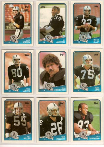 Los Angeles Raiders 1988 Topps Football Team Set (With Bo Jackson Football Rookie Card) ***, Marcus Allen, Chris Bahr, Todd Christensen, Bo Jackson, Sean Jones, James Lofton, Howie Long, Vann McElroy, Matt Millen, Stan Talley, Stacey Toran, Greg Townsend and Marc Wilson** (Oakland)