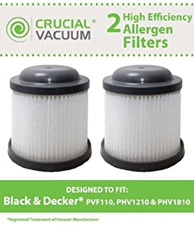 2 Black & Decker PVF110 Replacement Filters Designed To Fit Black & Decker PVF110, PHV1210, PHV1810; Compare To Black & Decker Part # 90552433 90552433-01; Designed and Engineered by Crucial Vacuum (B00B0YPJME) | Amazon price tracker / tracking, Amazon price history charts, Amazon price watches, Amazon price drop alerts