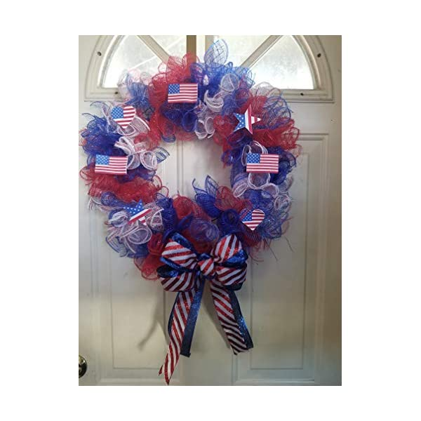 14 inch mesh patriotic/memorial day/independence day wreath