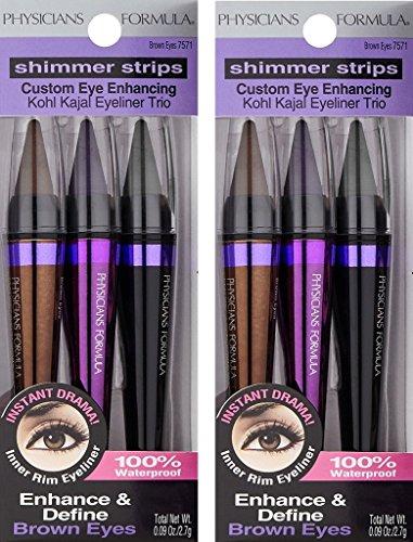 2 PACK Physicians Formula Shimmer Strips Custom Eye Enhancing, Intense Kohl, Kajal Eyeliner Trio, Brown Eyes, 0.09 oz.