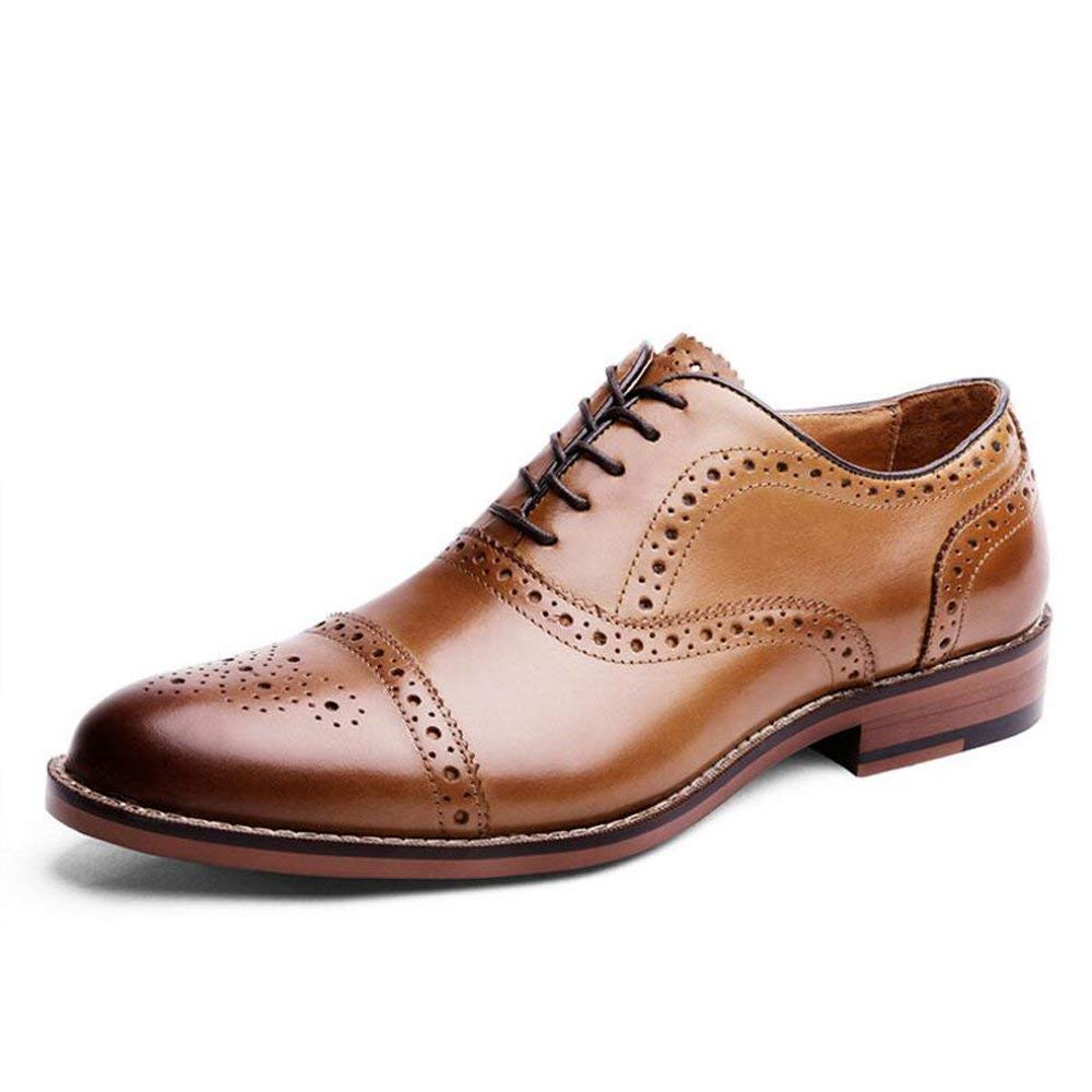 Brown Haiyao Men's Bullock Oxford shoes Classic Lace up Dress shoes - Mens Gents Leather shoes Size 6-14 Black Brown