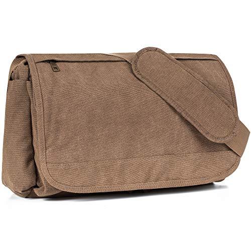 Classic Messenger Bag - Vintage Canvas Satchel Shoulder Bag for School Work Traveling Camping (Coffee)