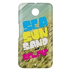 Loud Universe Motorola Nexus 6 3D Wrap Around Sea Sun Sand Selfie Print Cover - Multi Color