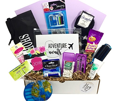 Thinking of You Graduation Honeymoon Congratulations Travel Gift Basket Box for Her-Women, Mom, Aunt, Sister Friend, Say You Mean the World to Me! (Graduation Gift Baskets For Her)