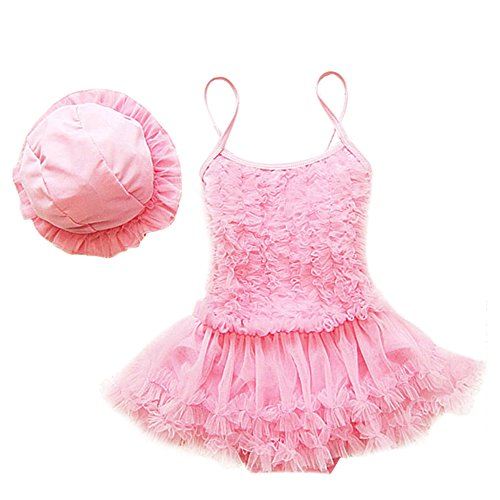 (Adorable Little Girl Swimsuit with Hat One Piece Ruffle Tulle Skirt Princess Swimwear Beach Bathing Suit 2PCS Set Pink 3 Years)