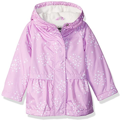Osh Kosh Baby Girls Cute Midweight Fleece-Lined Jacket, Stars on iris neon, 12M