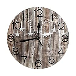 GULTMEE Round Wall Clocks Home Decorative, Primitive Country, Grey Colored Ornate Stars on Wooden Rustic Fence Cabin Design Print,Grey Brown,Diameter 9.8(25cm),Christmas