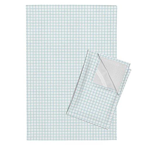 Roostery Grid 80S Lines Stripes Pale Blue Sports Graph Paper Tea Towels Grid Light Blue Grid Fabric by Andrea Lauren Set of 2 Linen Cotton Tea Towels - Graph Grid Fabric