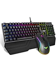 havit mechanische gaming-toetsenbord en -muisset, RGB-achtergrondverlichting (UK-layout), aluminium oppervlak en polssteun, 4800 Dots Per Inch RGB-gamingmuis met 7 knoppen (KB389L)