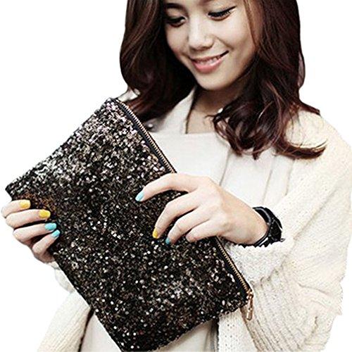 Handbag Clutch Evening Black Party Bag Glitter Bling Haresle Sequins Wallet qHAa06w