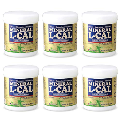 Umeken Mineral L Cal (Large Bottle) - Calcium Enriched with Magnesium, Vitamin D3 and Minerals. Water Soluble and Fast Absorbing. About a 6 Month Supply. Made in Japan. (Six Pack)