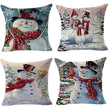 Staron Christmas Throw Pillow Cover 3D Snowman Pillows Holiday Theme Sofa Decor Couch Pillow Covers Pillowcase Cushion Cover Case Decorative Pillows A