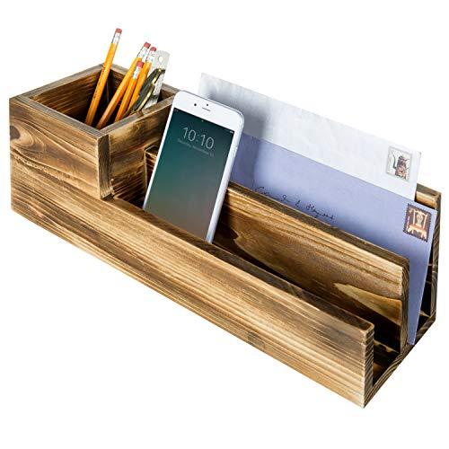 - MyGift 3-Compartment Rustic Brown Wood Desktop Organizer & Letter Sorter