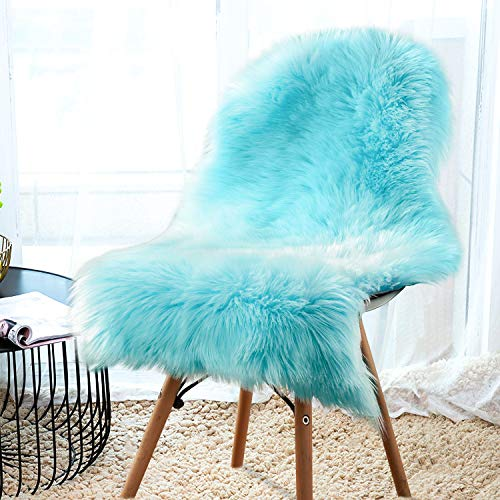 YJ.GWL Soft Blue Fluffy Faux Fur Sheepskin Area Rug for Bedroom Sofa Cover Seat Living Room Shaggy Bedside Rugs 2' x 3' (Blue Fur Material)